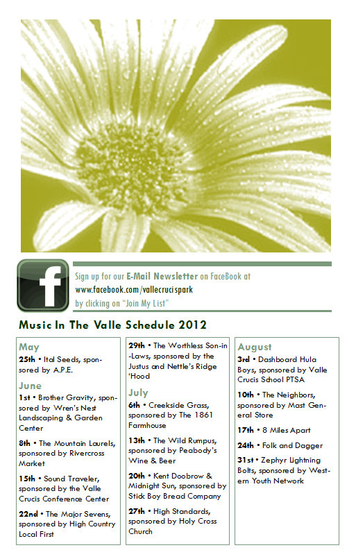 Music in the Valle 2012 Schedule